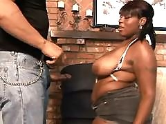 Bombshell black fat woman takes up cock