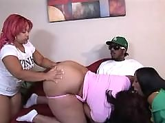 Yummy black chubby woman making sweaty sex